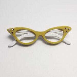 spilla ad occhiali anni 50 con swarovski