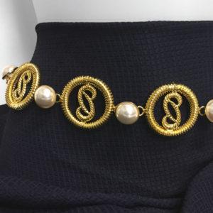 cintura in galvanica d'oro e perle