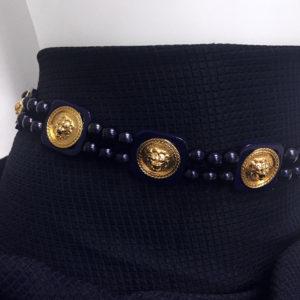cintura acetato con medaglioni e perle